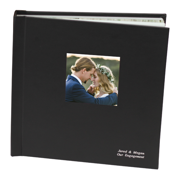 Black Heritage Album with Cameo of Bride & Groom with Cover Embossing in Silver