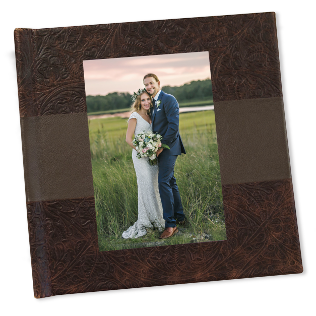 Two Toned Cream Leather Mosaic Album with Cameo of Little Girl on Cover