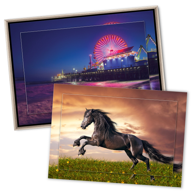 Thumbnail of Pier Carnival at night & Black Stallion in Meadow Printed on Double Float Metal Prints