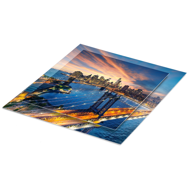 Cityscape at dusk Printed on Double Float Metal Prints