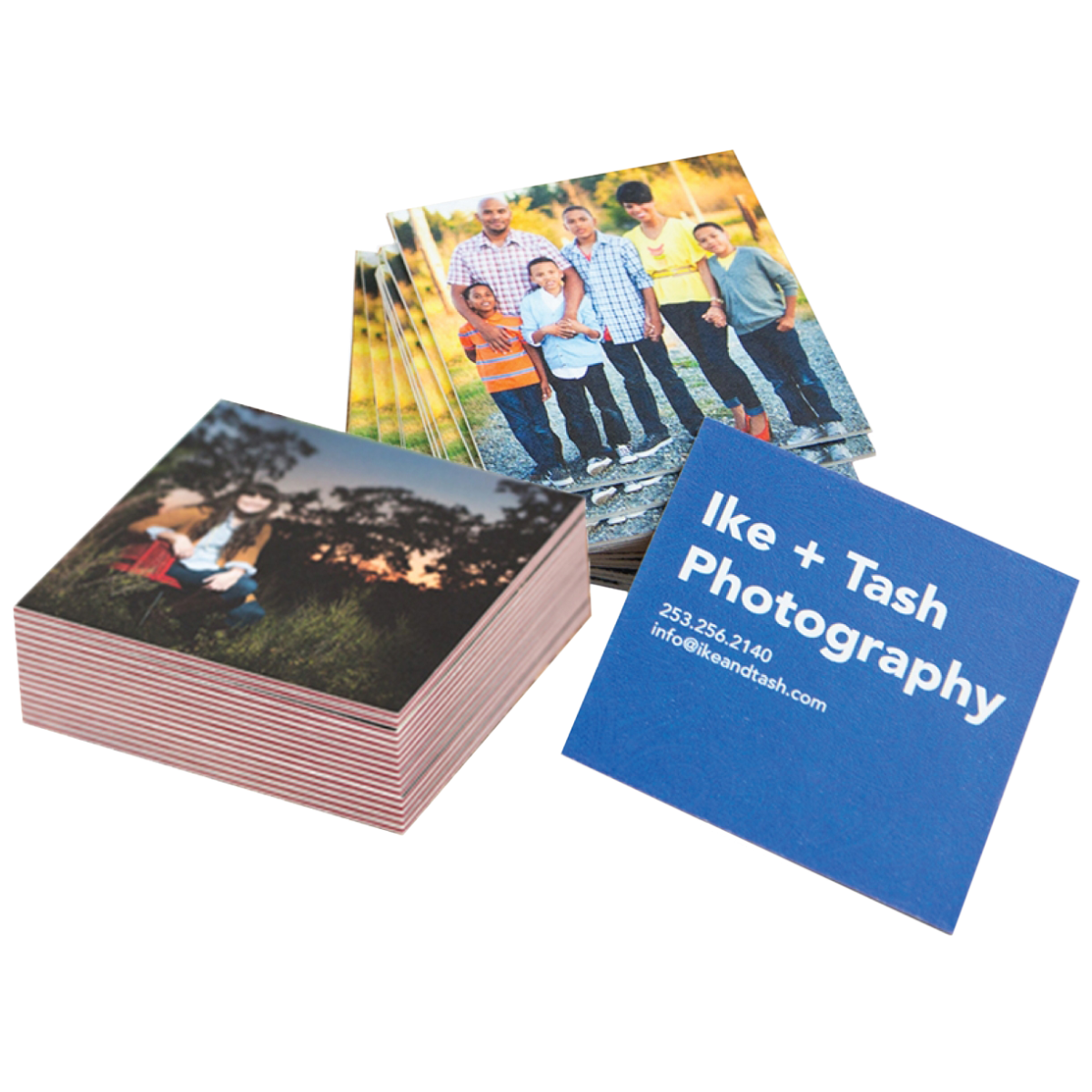 Square Photographer Business Cards in Extra Thick & ColorTHICK