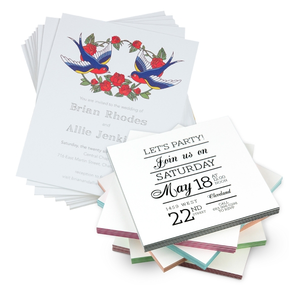 Print on Demand Wedding Invitations on Extra Thick & ColorTHICK Greeting Card Paper
