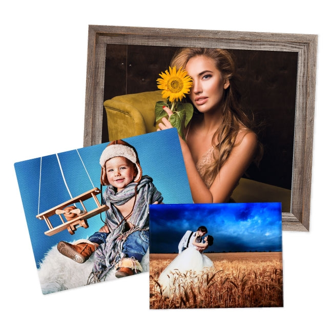 Assorted framed and unframed prints for professional photographers