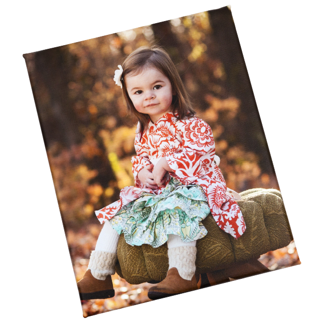 Little Girl Sitting on an Ottoman in the Woods Printed on Float Mount Wraps