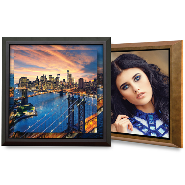 Photos of cisy scape at dusk and senior girl printed on metal prints & framed