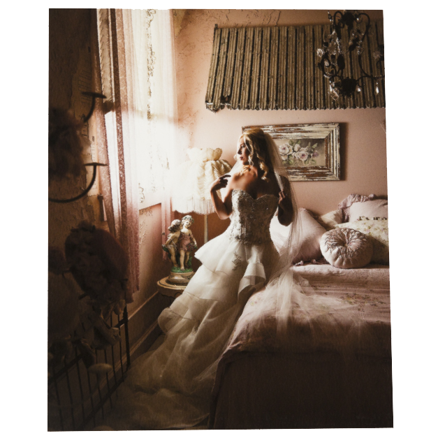 Bride in Bedroom Looking out Window Printed on Giclée Fine Art Prints
