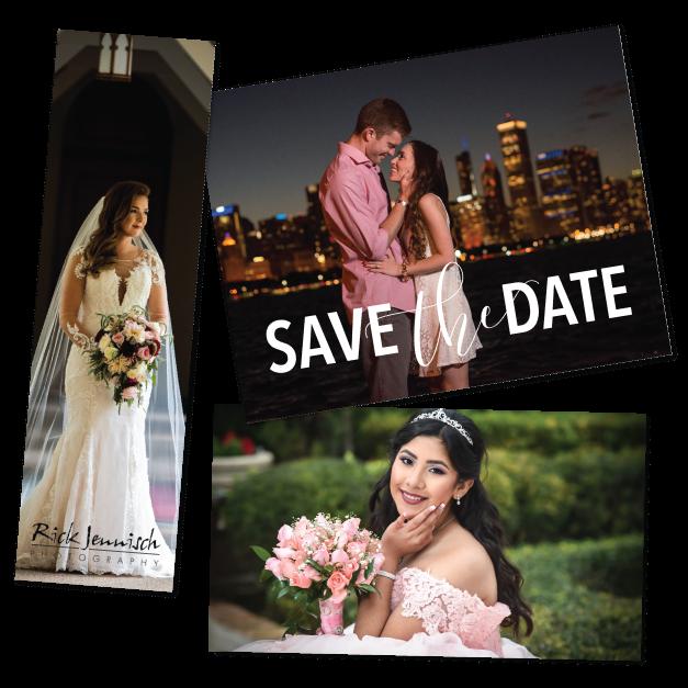 save the date, bride & senior girl in formal dress Printed on Magnet