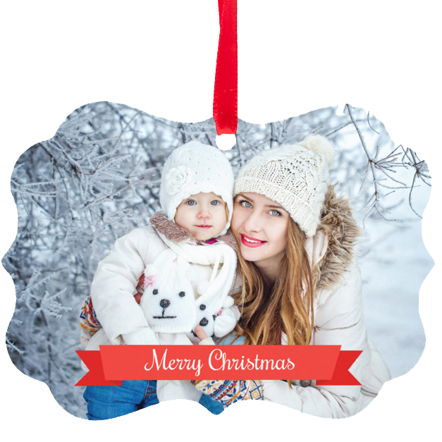 Little Girl & Mom in Snow Printed on Metal Ornament with Red Ribbon