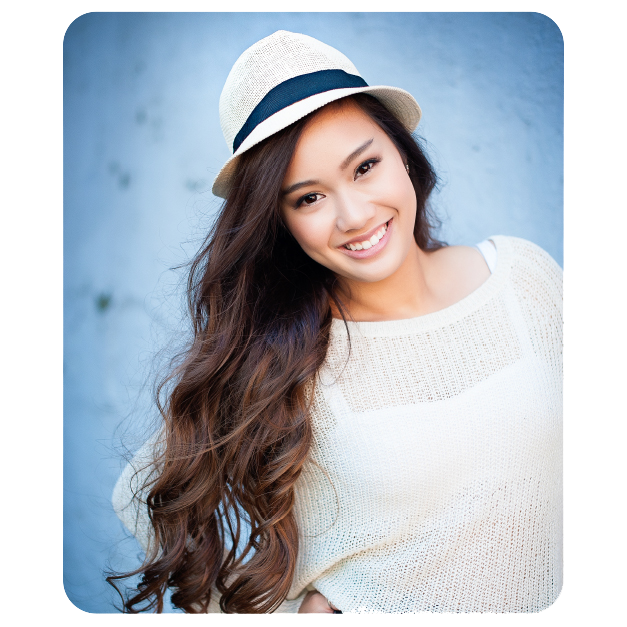 Senior Girl in Fedora Printed on Mouse Pads