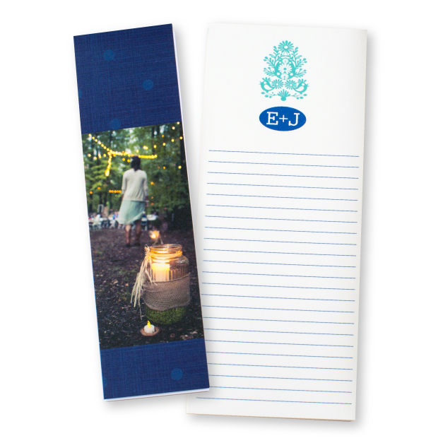 Blue Initial with Scroll work Design Printed on Notepads