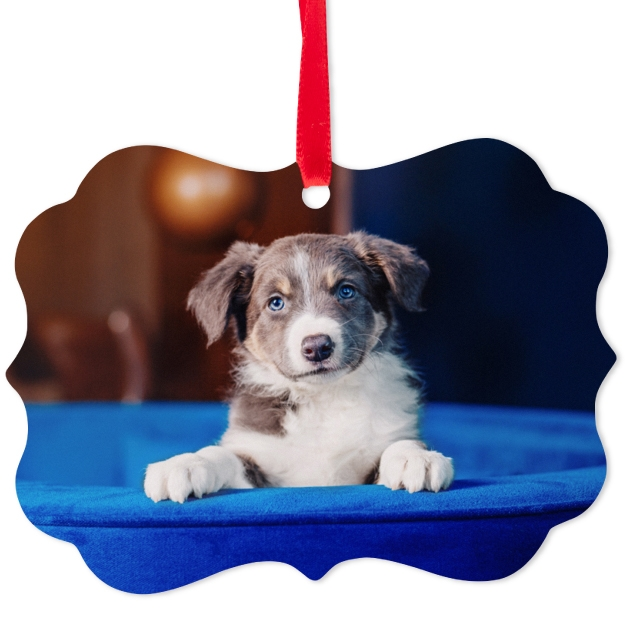 Custom printed metal photo ornament with an image of a cute puppy on a blue cushion