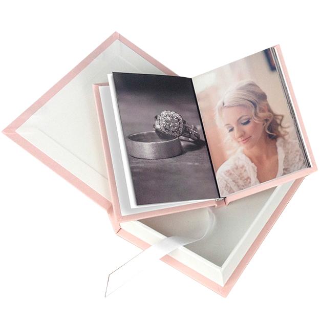 Light Pink Fabric Cover Wedding Album Laying in a Matching Custom Album Box