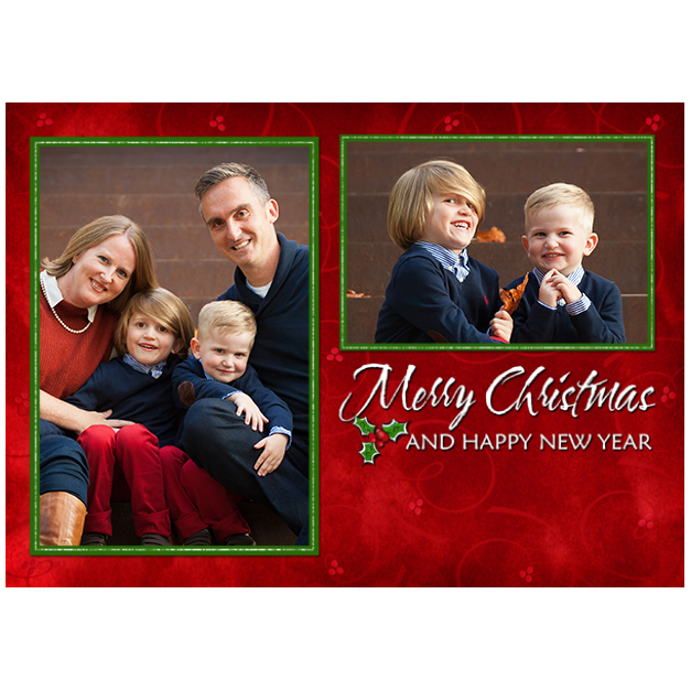 Red Christmas Card with Family Photos Printed on Photo Paper Greeting Cards