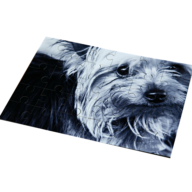 Black & White of a Dog Printed on a Masonite Puzzle