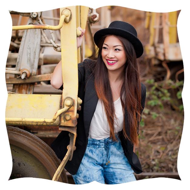 Senior Girl on a Train in Black Hat Printed on Shaped Metal Print