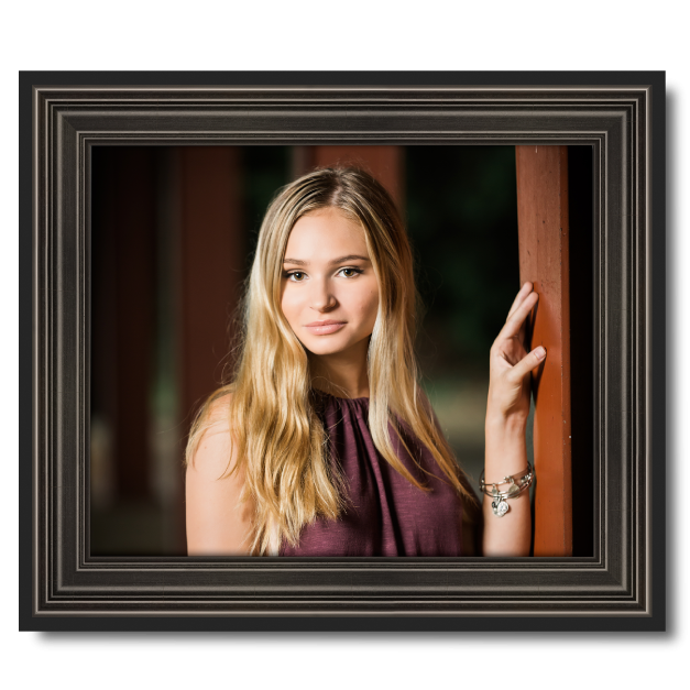 Senior Girl in Plum Shirt Printed on Metal Print & Mounted in Frame