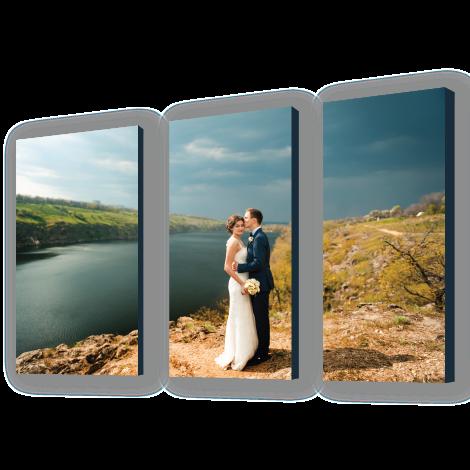 Wedding Portrait River Landscape Printed on Split Image Canvas Wrap