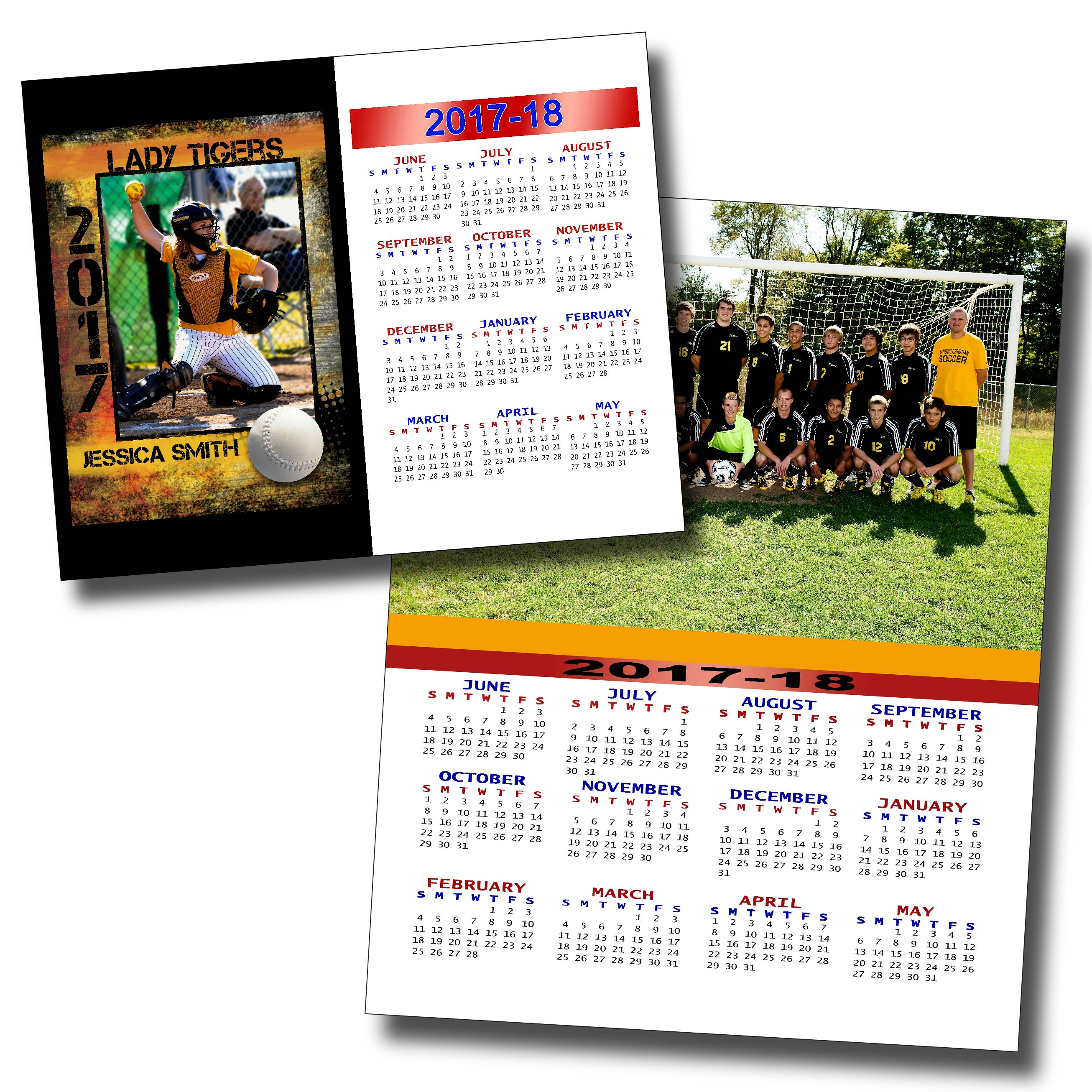 Softball Sports Calendar in Fierce & Soccer Team Calendar