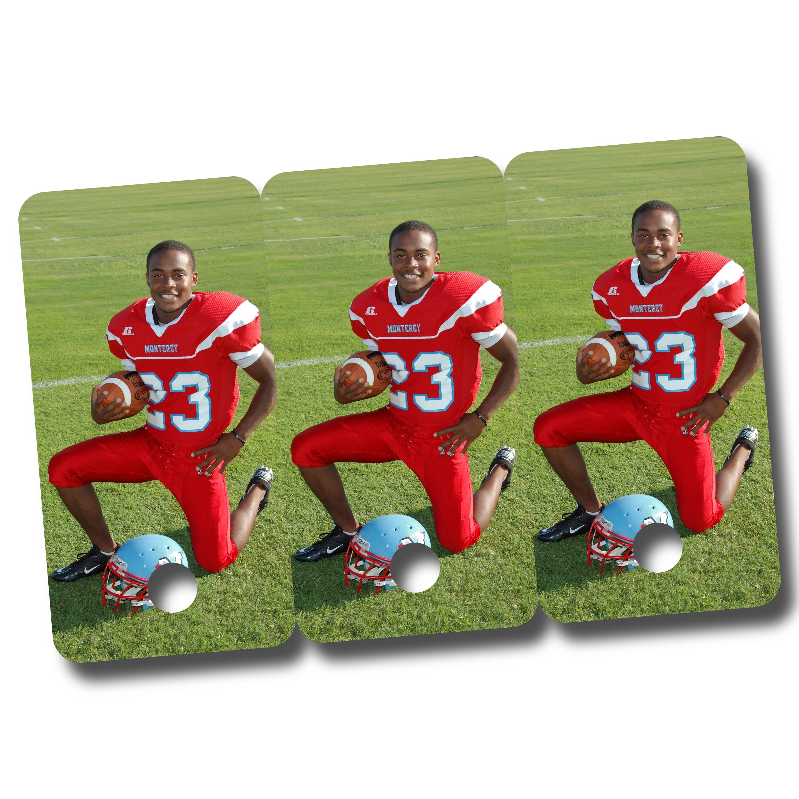 Football Player in Red Uniform Printed on Key Fobs