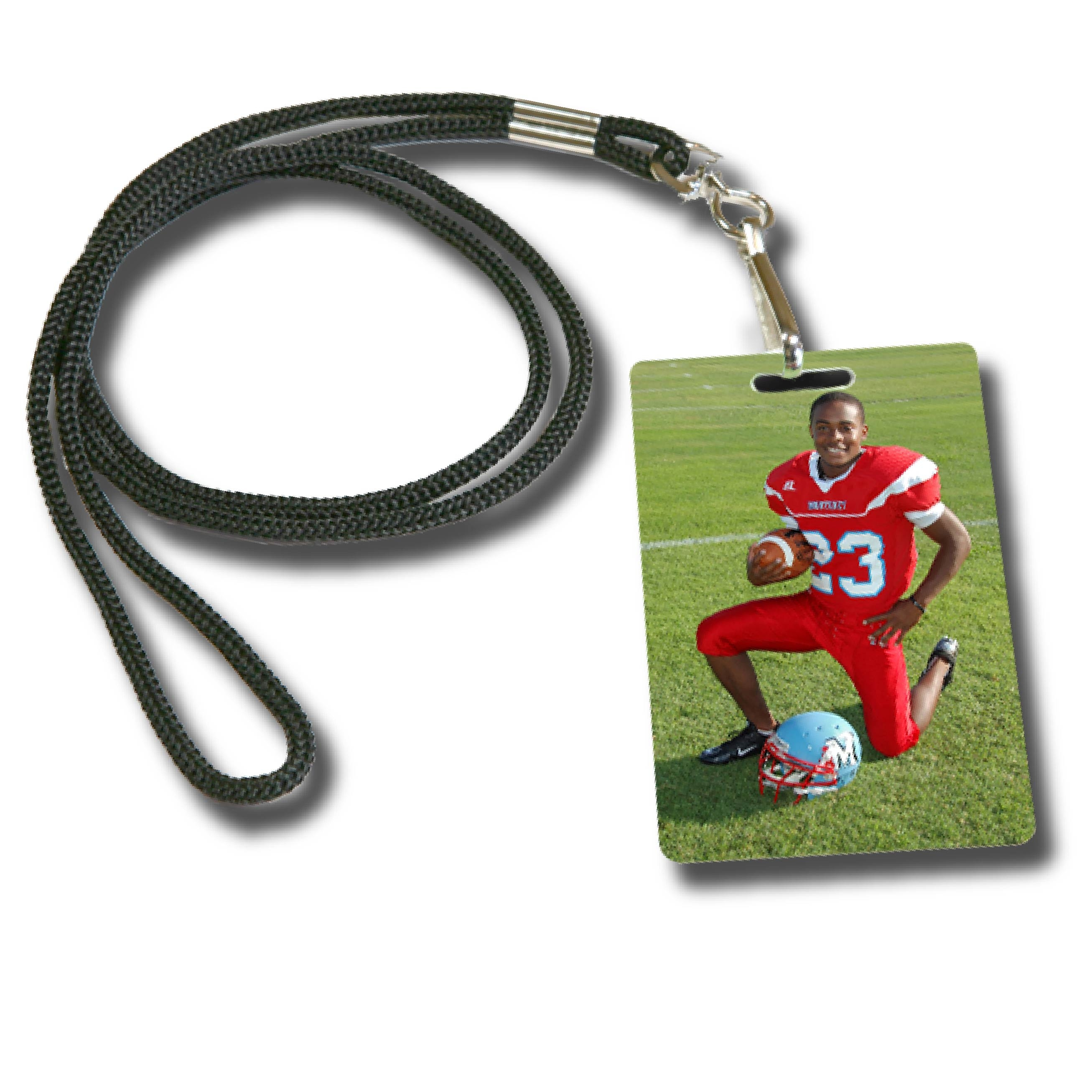 Football Player in Red Uniform Printed on Lanyard Tags