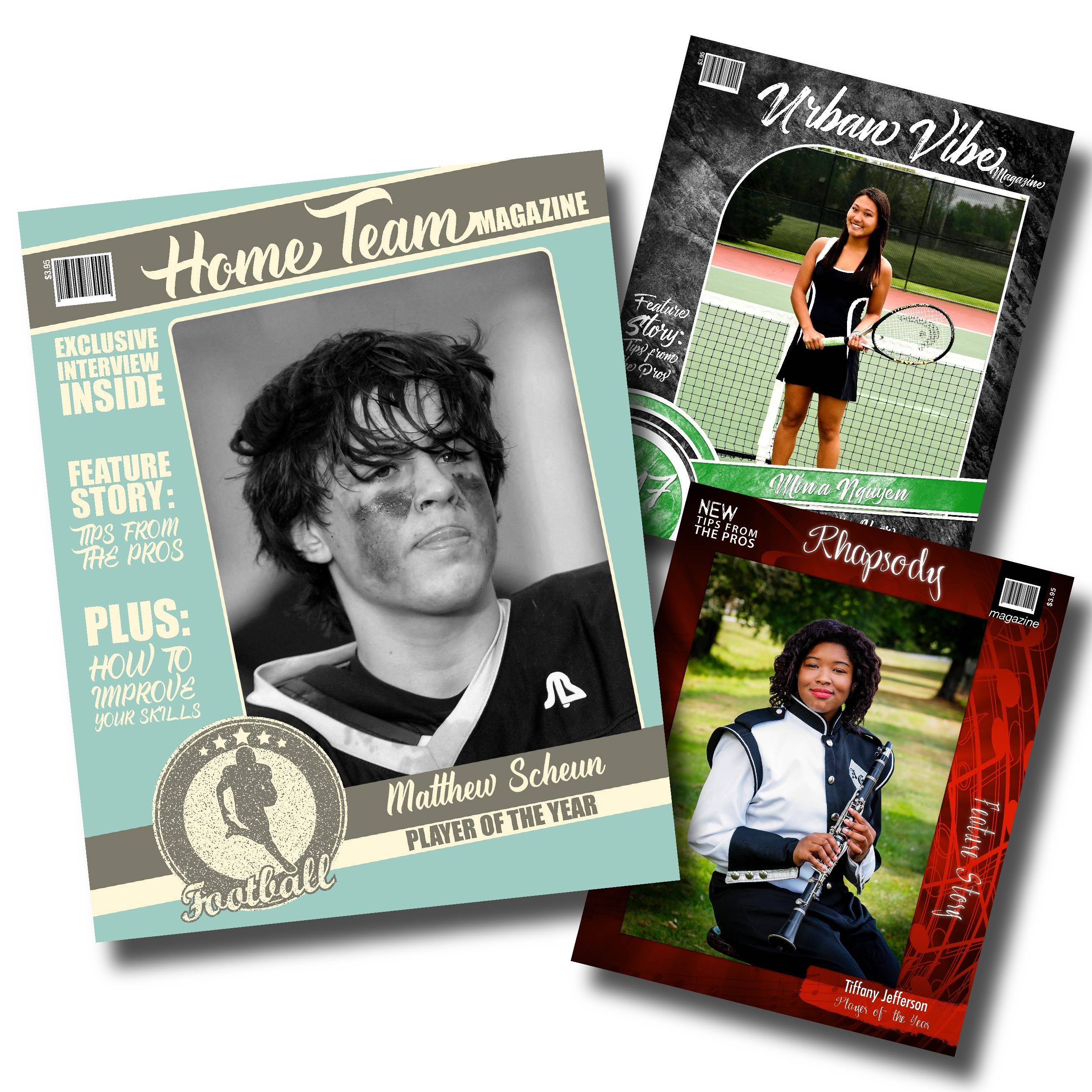 3 photographic print Magazine Covers in Urban Vibe, Home Team Football & Rhapsody