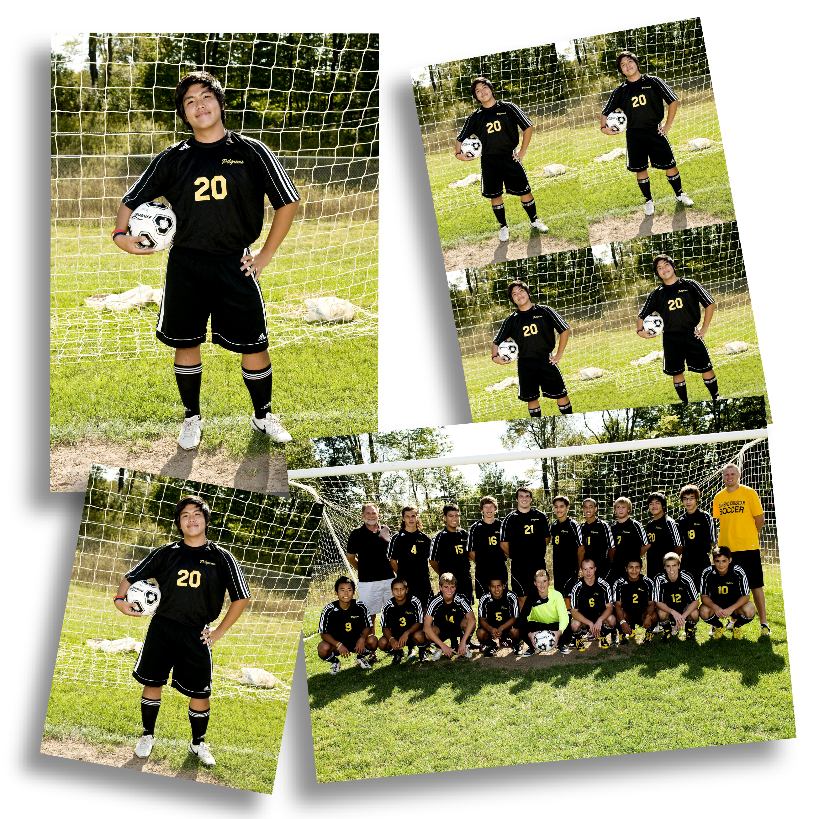 Soccer Team & Individual Photos Printed in Different Sizes of Prints