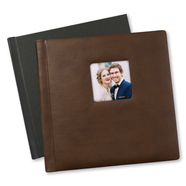 Brown Leather Tuscany Albums with Cameo of Engaged Couple