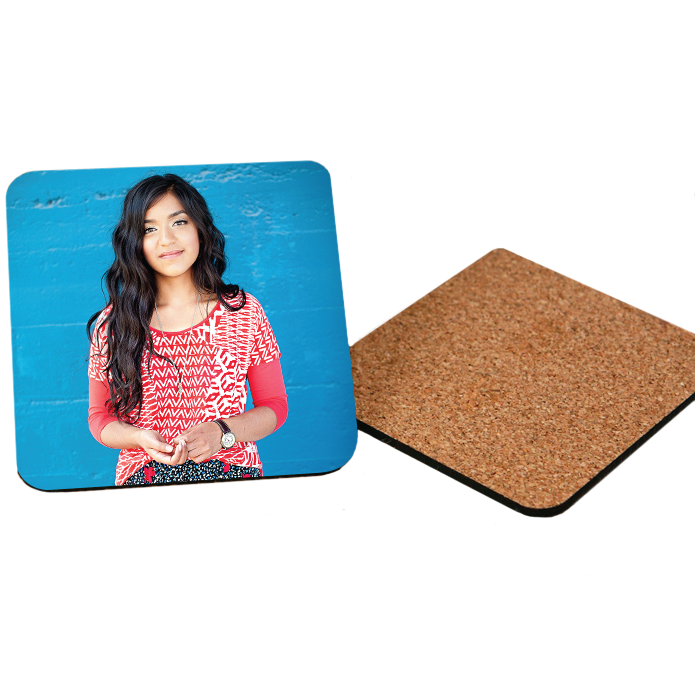 Teen Girl in Red Shirt Printed on Wooden Coasters