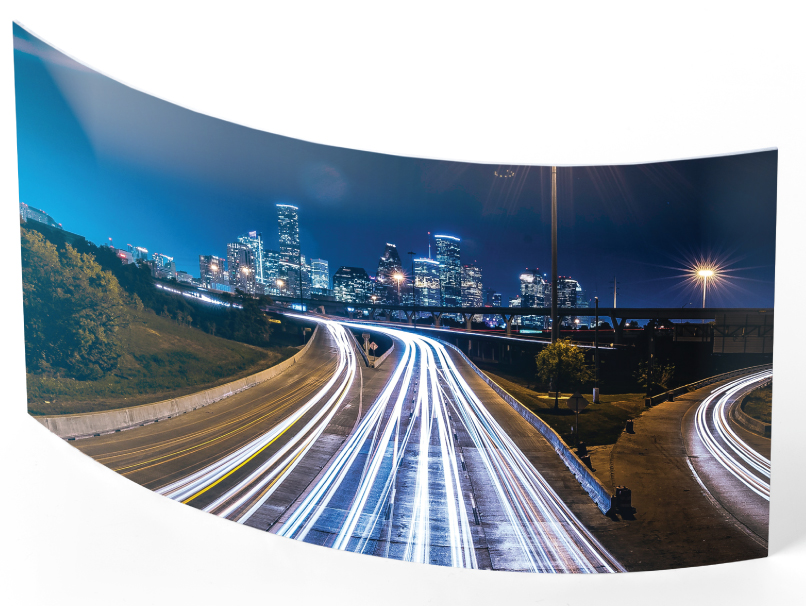 Cityscape printed on a convex Curved Metal Print