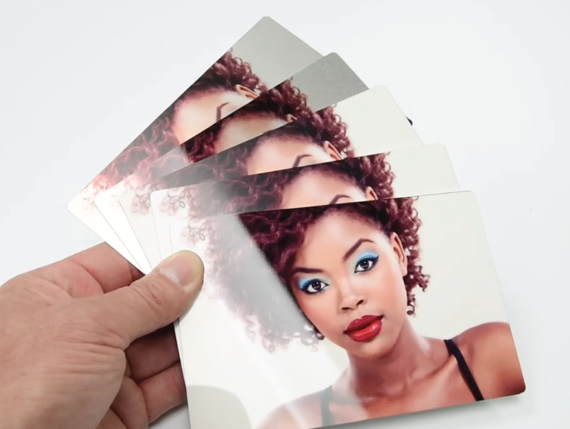 Woman with Blue Eye Shadow & Red Lipstick Printed on Metal Print Sample Kit in 5 Metal Print Surfaces