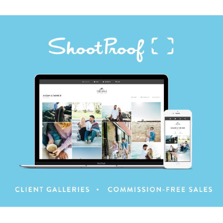 ShootProof Logo with Computer & Phone Displaying Software