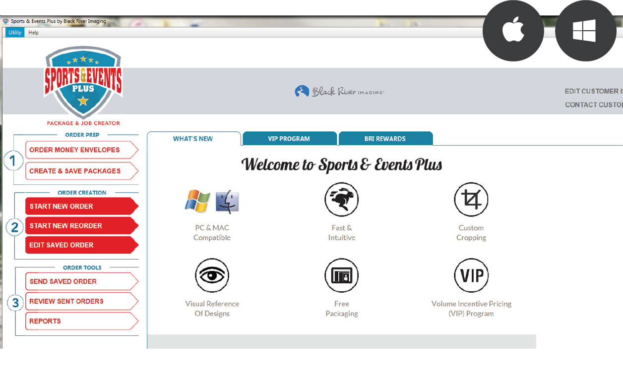 Ordering Sports Products with Sports & Events Plus Software